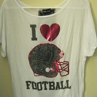 """R5 Rydel Lynch Personal I Love Football """"Wet Seal"""" Graphic T-shirt"""