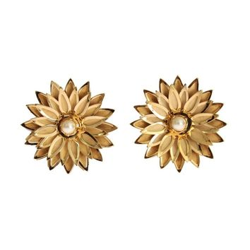 Dolce & Gabbana Gold Brass Floral White Pearl Earring