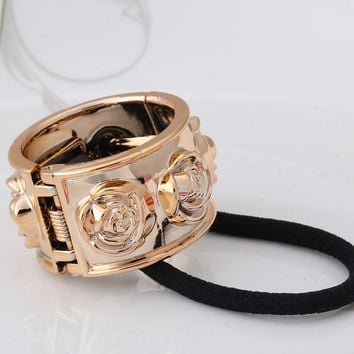 New Fashion Alloy Rose Flower Designer Elastic Rubber Bands Punk Metal Hair Accessories Hair Ropes Headband Scrunchy