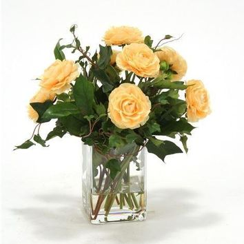 Waterlook (r) Apricot-Yellow Ranunculus W/ Ivy and Basil In Square Glass Vase