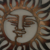Blazing Sun Copper and Torch Patina 22 Inch Metal Wall Art Hanging