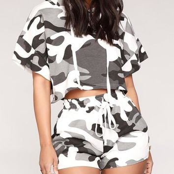 New Multicolor Camouflage Short Sleeve Hooded Outdoors Two Piece Jogger Set Jumpsuit Pants