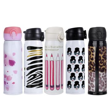 500ML Stainless Steel Vacuum Flasks Coffee Tea Milk Travel insulated Cute 5 Color Thermal Water Bottle Drop shipping