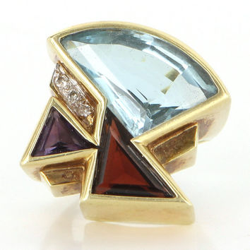 Vintage 1980s Geometric 14k Gold Topaz Amethyst Cocktail Ring Estate Jewelry