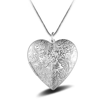 925 Sterling Silver LOVE heart-shaped Photo box Bohemian Necklace Pendant for Women Mothers day Gift Jewelry 2017 YN2