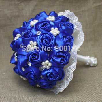 Pure Color Rose Pearls Wedding Bouquet