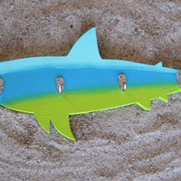 Handcrafted Ombre Shark Coat Rack Nursery Bathroom Beach Decor Nautical Ocean Coastal Theme Decor