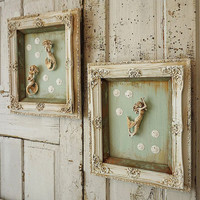 White framed mermaid sculptures grouping wall decor shabby beach cottage mermaids distressed figures w/ sea foam backings anita spero design