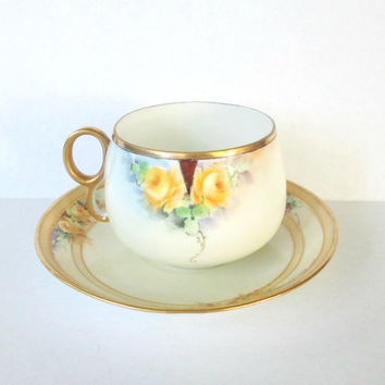 Nippon Cup Saucer Set Antique Hand Painted Yellow Rose Rising Sun Mark