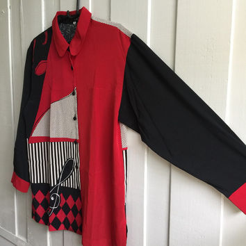 Vintage scarf Print baroque shirt ,Over sized Shirt, disco shirt, Retro Shirt in musical print,black red and white, Bust 40 Inch
