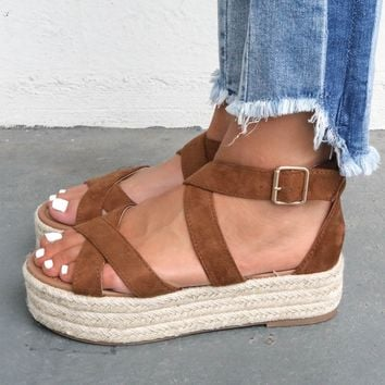 Just Met Strappy Brown Platform Espadrilles