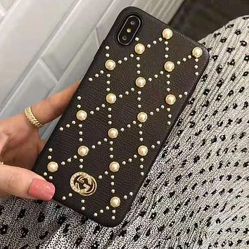 GUCCI Fashion Women Chic Pearl iPhone X XR XS XS MAX Phone Cover Case For iphone 6 6s 6plus 6s-plus 7 7plus 8 8plus X Black