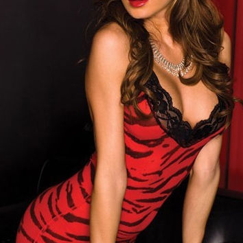 Red Leopard Sleeveless Lace Bodycon Sleepwear