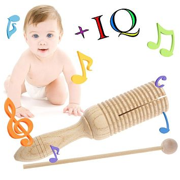 Single Wooden Tone Block Percussion with Beater Musical Toy kid