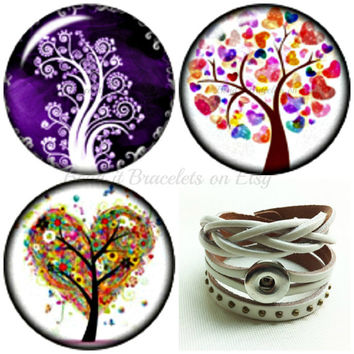 Tree of Life snap charms will fit Gingersnap and Noosa style jewelry.3 x 20 mm high domed chunk charm and a white leather wrap snap bracelet