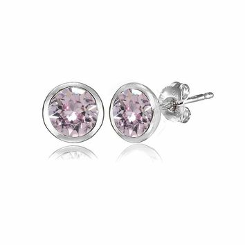 5mm Martini Pink Stud Earrings with Swarovski Crystals in Sterling Silver