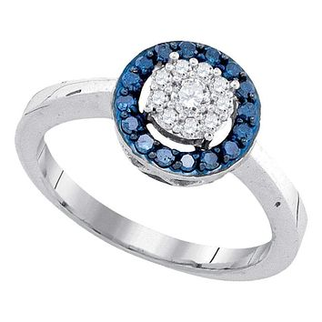 10kt White Gold Women's Round Blue Color Enhanced Diamond Flower Cluster Ring 3/8 Cttw - FREE Shipping (US/CAN)