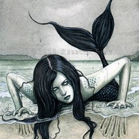 From The Dark Depths 13 x 19 Print Mermaid ElvenstarArt: The Art of Rebecca Sinz