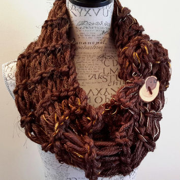 Knit Chocolate Truffle button cowl. crochet chunky infinity scarf. Made by Bead Gs on ETSY. double stitch