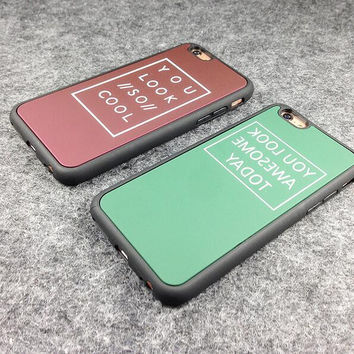 """Letter """"You look so cool"""" mobile phone case for iphone 5 5s SE 6 6s 6 plus 6s plus + Nice gift box 71501"""