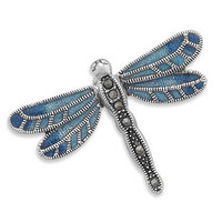 Blue Enamel and Marcasite Sterling Silver Dragonfly Pin