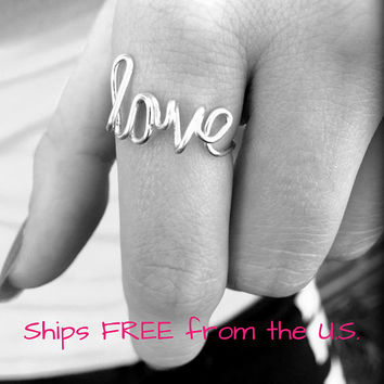 Love ring, word ring, non adjustable love ring, dainty ring, minimal ring, wire ring, love jewelry, valentine's gift
