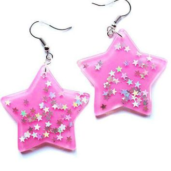 ONETOW Kawaii Star Dangle Earrings Day-First?
