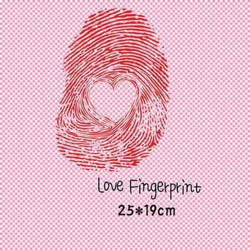 DoreenBeads 25x19cm Love Fingerprint Patch T-shirt Press Sticker Washable Iron On Transfers Patches For Lovers Couples Clothes
