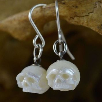 Hand Carved White Pearl Skull Sterling Silver Dangle Earrings