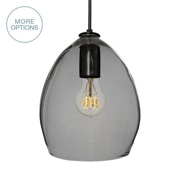 Hand Blown Modern Orb Glass Egg Smoke Grey Pendant Light