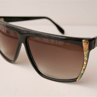 Black And Floral Flowers Retro Deadstock Big Sunglasses A47