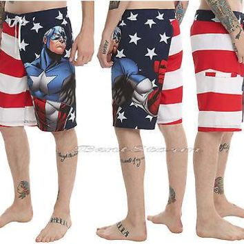 Licensed cool NEW Marvel Avengers Captain America USA Flag Board Shorts Swim Trunks Swimwear