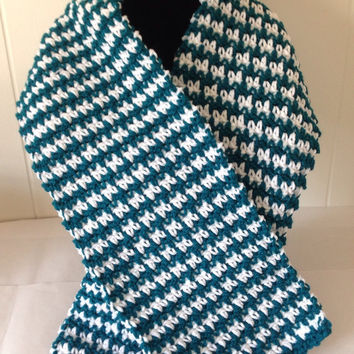 "Scarf teal Green and White  Crochet Houndstooth Pattern  7"" X 46"""