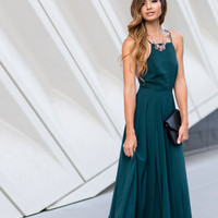 Emma Forest Green Flowy Maxi Dress