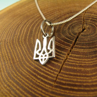 Ukraine Symbol Trident Necklace, Ukraine style jewelry, Tryzub, Ukrainian Trident, Gift for Her, Women Gift