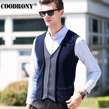 Winter Elegant Men Knitted Merino Wool Vest Coat V-Neck Sleeveless Cardigan Men Thick Warm Cashmere Sweater Men With Pocket 6333