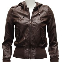 Clothes Effect Ladies Brown Synthetic Hooded Leather Jacket
