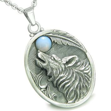 Amulet Howling Wolf Opalite Gemstone Oval Shape Fine Pewter Lucky Charm Pendant Necklace