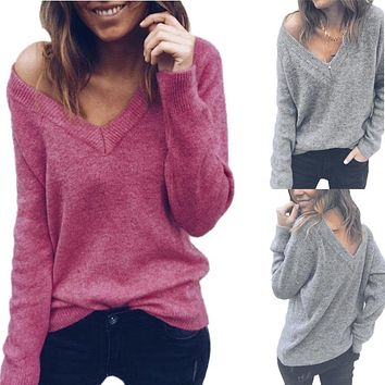 Solid Color V-Neck Long Sleeve Backless T-Shirt