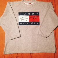 Vintage 90's Tommy Hilfiger Big Logo 3/4 sleeve grey Sweatshirt Size XL sweater crewneck shirt longsleeve