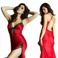 Sexy Lingerie Hot Women Strap Lace Exotic Underwear Backless Porno Costumes Intimate Sleepwear Gauze Chest Split Dress Langerie