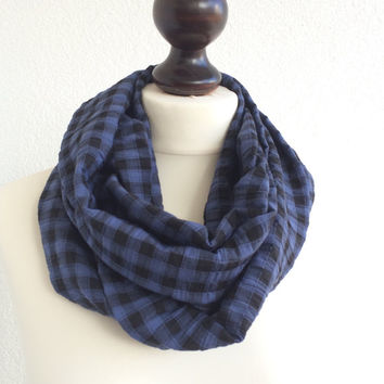Plaid Men Scarf, Tartan Cotton Circle Scarf, Checkered Unisex Infinity Scarf, Black Blue Loop Scarf, Women Geometrical Foulard, Gift Idea