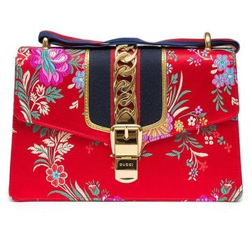 DCCKUG3 Gucci Sylvie Red Jacquard Floral Tokyo Silk Small Bag Ribbon Leather Handbag New Box
