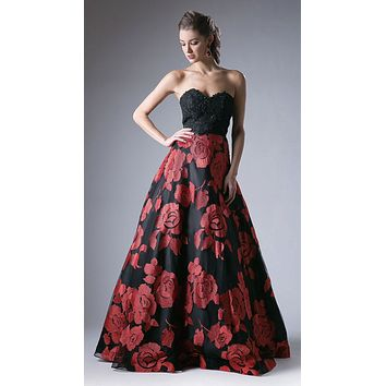 Black Embroidered Strapless Prom Gown Lace Up Back