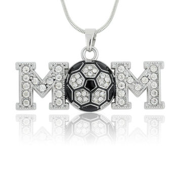 Silver Plated Large Crystal Soccer Ball Mom Pendant  Necklace Jewelry Gift