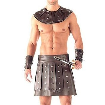 Novelty Sexy Men Faux Leather Outfit Kilt with Collar Cuffs Gladiator Costume Cosplay Clothing Nightclub Adult Play Party Set