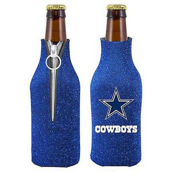 NFL Dallas Cowboys Glitter Zip Up Bottle Coozie Koozie Insulator Holder