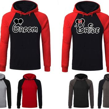Mickey Minnie Bride Groom Couple Matching Love Set Raglan Hoodie