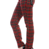 Banned London Rock Funky Red Royal Stewart Tartan Skinny Jeans