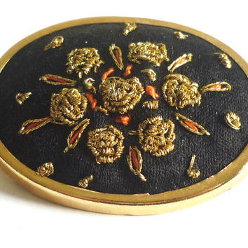 Brooch Embroidered Floral Flowers Black Background Oval Pin Gold Frame Vintage Jewelry